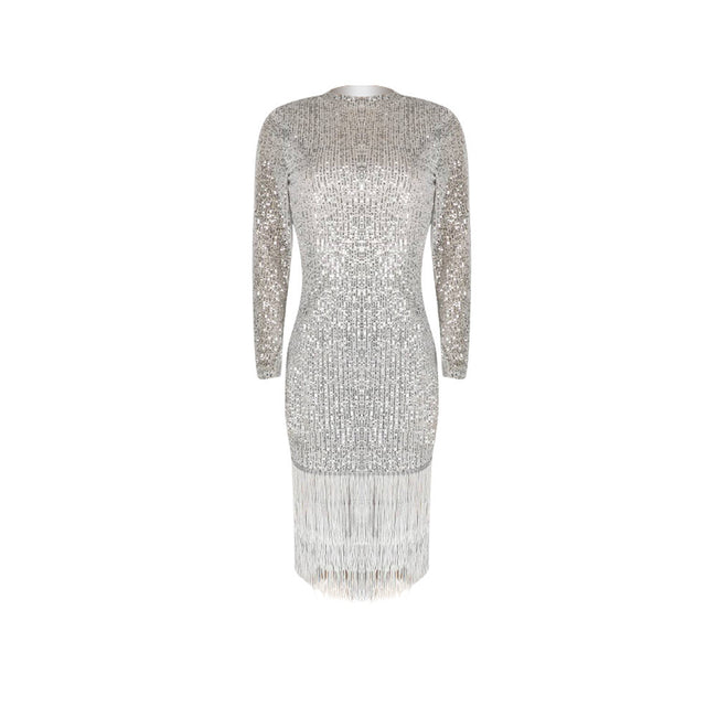 PansyGal Tassels Hem Long Sleeve Sequined Dress