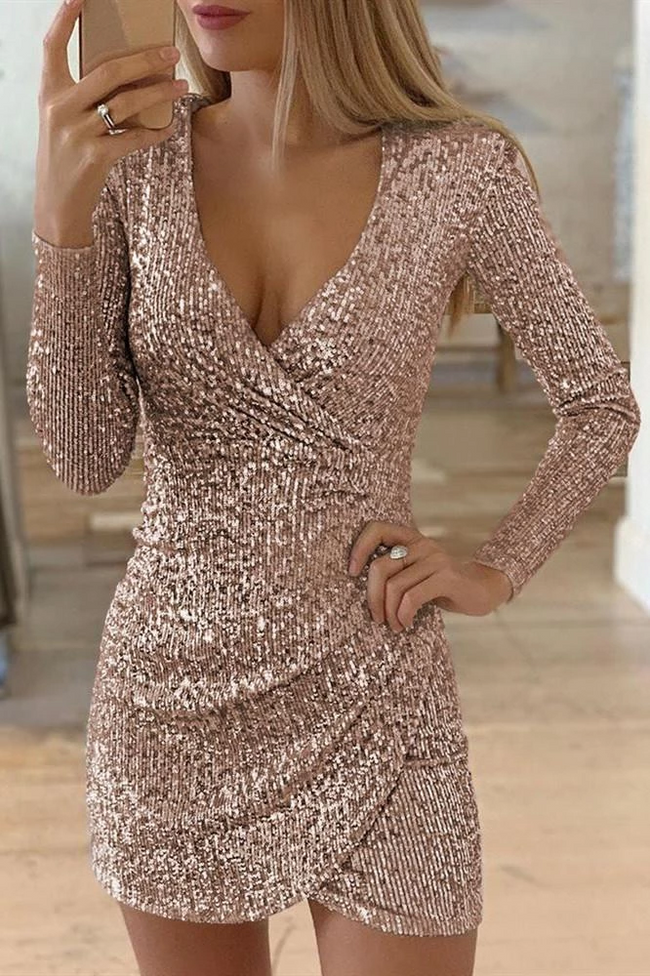 PansyGal Sequin Irregular Wrap Dress