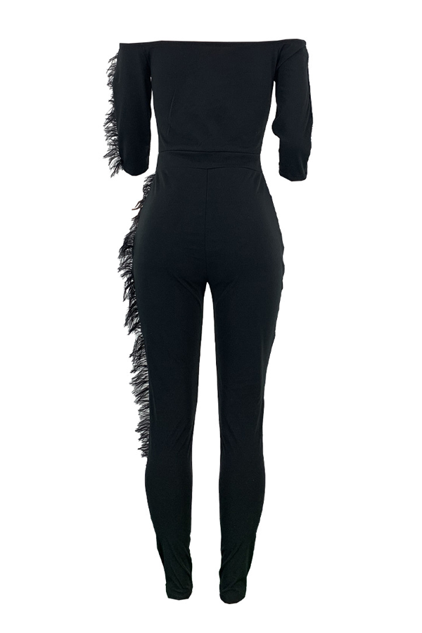 PansyGal Feather Decor Off the Shoulder Jumpsuit