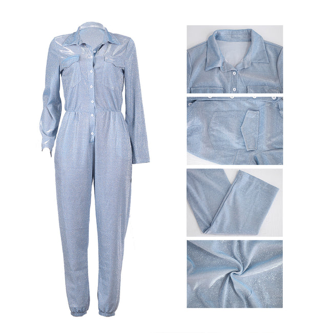 PansyGal Casual Shining Jumpsuit With Pockets