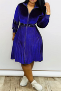 PansyGal Solid Color Velvet Pleated Dress