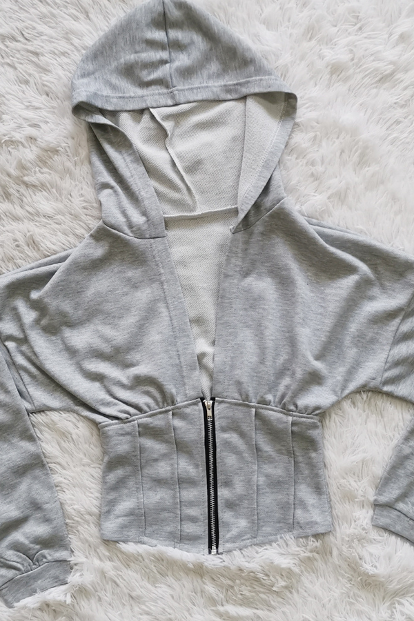 PansyGal Solid Color Hooded Zipper Coat