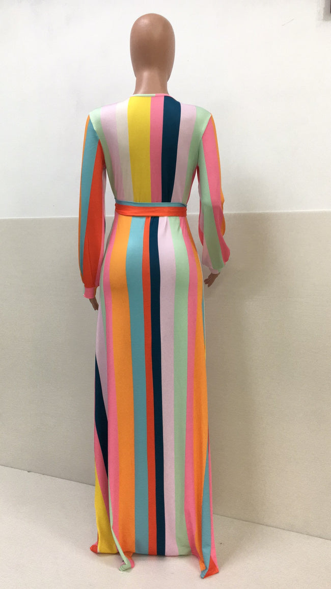PansyGal Rainbow Striped V-neck High Slit Belted Maxi Dress