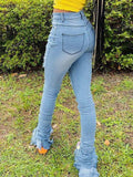 PansyGal Distressed Flared Jeans