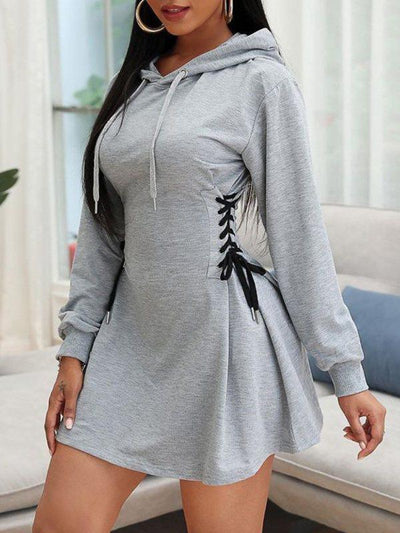 PansyGal Lace-Up Hoodie Dress