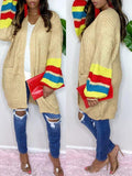 PansyGal Colorblock Open-Front Cardigan