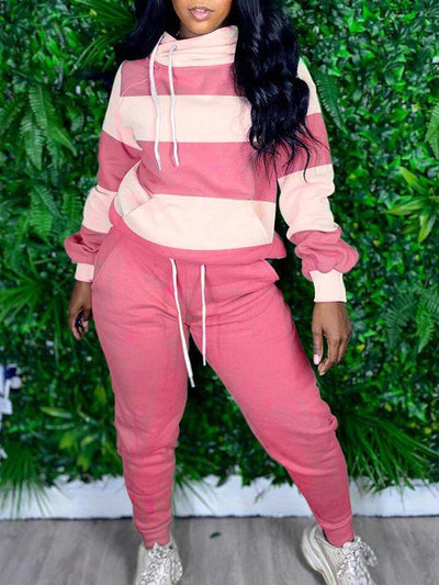 PansyGal Two-Tone Hoodie & Jogger Pants Set