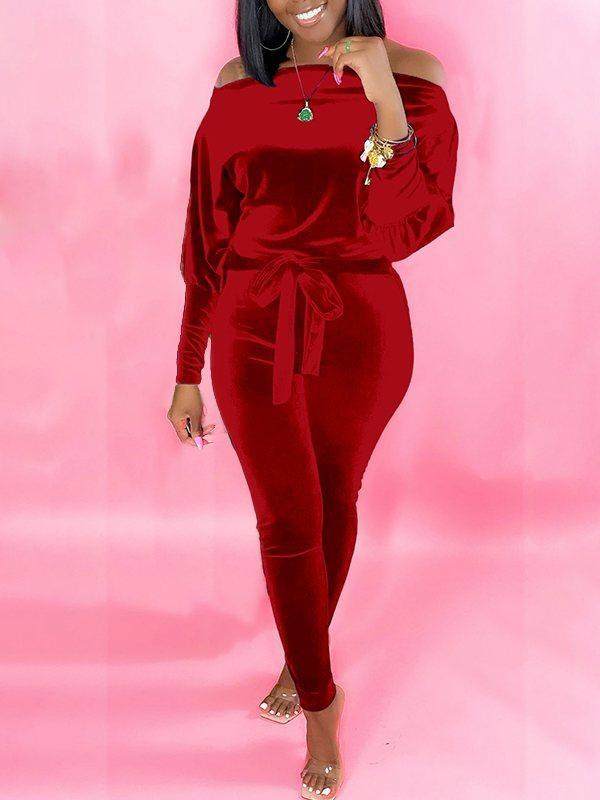 PansyGal Velvet Off-Shoulder Jumpsuit