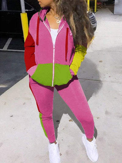 PansyGal Colorblock Zip-Front Hoodie & Jogger Pants Set