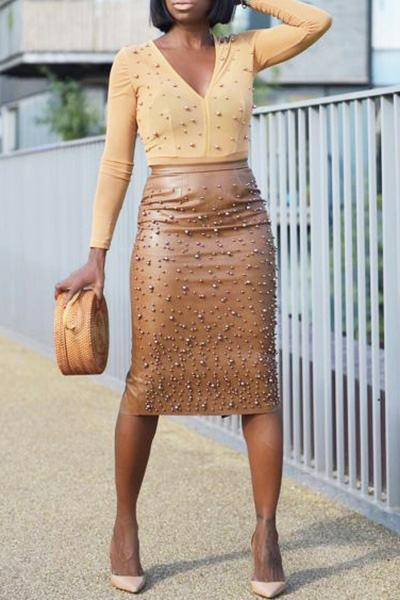 PansyGal PU Pencil Skirt