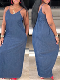 PansyGal 2019 Denim Spaghetti Straps V Neck Maxi Dress