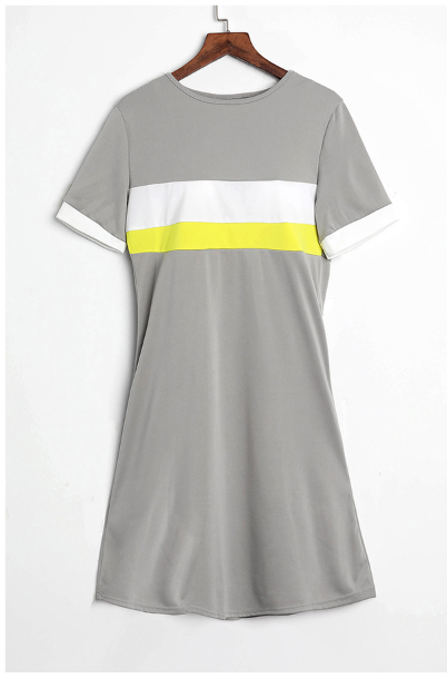 PansyGal Round Neck Patchwork Light Grey Mini Dress