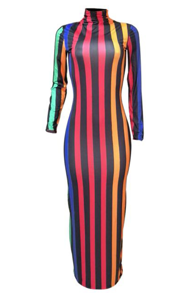 PansyGal Casual Striped Slim Ankle Length Dresses