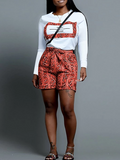 PansyGal Snake Print Long Sleeve Belted Top & Shorts
