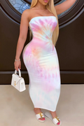 PansyGal TIE-DYE TUBE TOP LONG DRESS