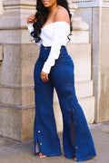 PansyGal Slit Denim High Waist Wide Leg Pants