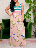 PansyGal Stripe & Floral Combo Maxi Dress
