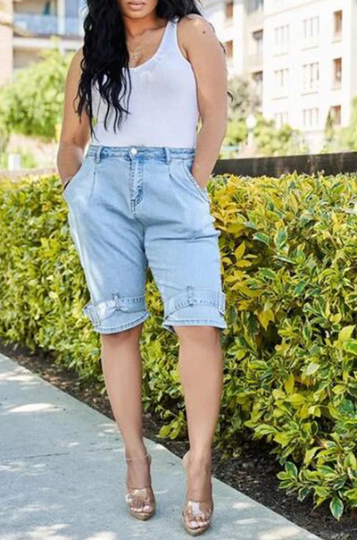 PansyGal CASUAL DENIM KNEE LENGTH SHORTS