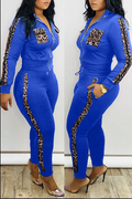 PansyGal Leopard Patchwork Zipper Up Two Piece Outfits