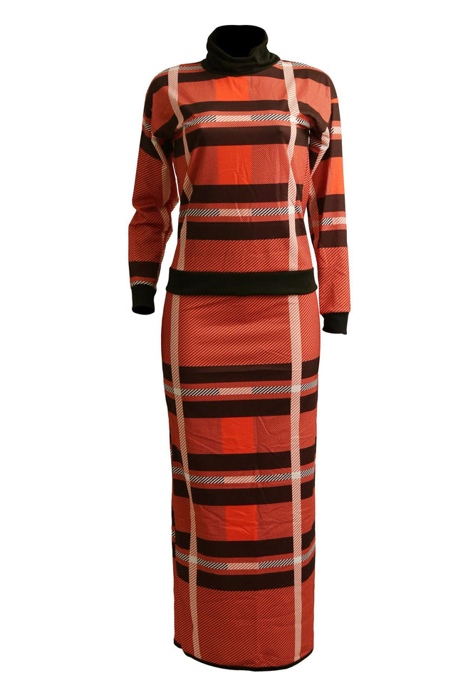 PansyGal Turtleneck Long Sleeve Plaid Two Piece Dress