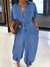 PansyGal Button-Front Belted Denim Jumpsuit