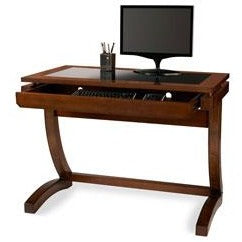 "Coastal Ridge Writing Desk, 31 1/8""H x 42""W x 24 1/2""D, Mahogany/Black Glass"
