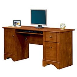 "Realspace Outlet Dawson 60"" Computer Desk, Brushed Maple"