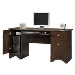 "(Scratch and Dent) Realspace Outlet Dawson 60""W Computer Desk, Cinnamon Cherry"