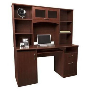"(Scratch and Dent) Realspace Outlet Landon Desk with Hutch, 64""H x 55 1/2""W x 23""D, Cherry"
