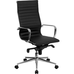 "OF4S Ribbed High-Back Leather Conference Chair, 23.5""wide x 25.5""deep x 36.5 - 39.5""high, Black/Chrome ( In-Stock )"