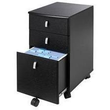 "(Scratch and Dent) Realspace Outlet Mezza 19""D Vertical 3-Drawer Mobile File Cabinet, Black/Chrome"
