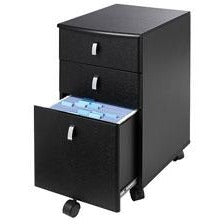 "Realspace Outlet Mezza 19""D Vertical 3-Drawer Mobile File Cabinet, Black/Chrome"