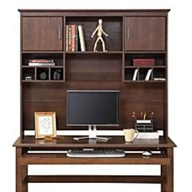 "Whalen Dunmoor Collection, Tall Hutch, 46""H x 54""W x 10 1/2""D, Brown Cherry"