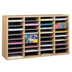 Safco Outlet Adjustable Wood Literature Organizer, 24''H x 39 3/8''W x 11 3/4''D, 36 Compartments, Oak