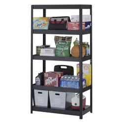 "Edsal Heavy-Duty Steel Shelving, 5 Shelves, 72""H x 36""W x 18""D, Black"