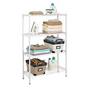"Wire Shelving, 4 Shelves, 54""H x 36""W x 14""D, White"