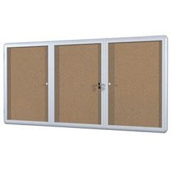 Bi-Office Anodized Aluminum Frame Enclosed Cork Bulletin Board, 3 Doors, 36''H x 72''W