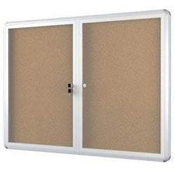 (Scratch & Dent) OF4S Bi-Office Anodized Aluminum Frame Enclosed Cork Bulletin Board, 2 Doors, 36''H x 48''W