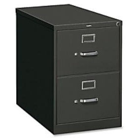 "HON Steel Vertical File Cabinet With Lock, Legal Size, 2 Drawers, 29""H x 18 1/4""W x 26 1/2""D, Charcoal"