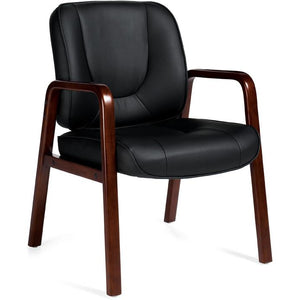 "Offices To Go Global Luxhide Guest Chair with Cordovan Wood Accents 26""D x 24""W x 34.5""H  Black"