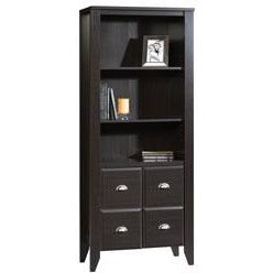 Sauder Shoal Creek Library With Doors, 69''H x 28 1/2''W x 14 1/2''D, Jamocha Wood.