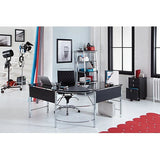 Realspace Outlet Mezza L-Shaped Glass Computer Desk, Black/Chrome