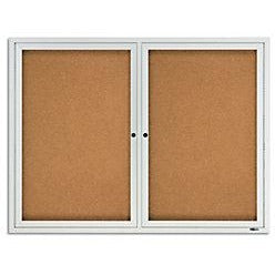 "Quartet Anodized Aluminum Frame Enclosed Bulletin Board, 36""H x 48""W, 2 Doors"