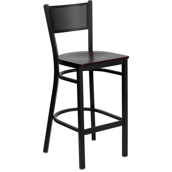 Black Grid Back Metal Restaurant Bar Stool - Mahogany Wood Seat