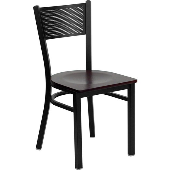 Black Grid Back Metal Restaurant Chair - Mahogany Wood Seat