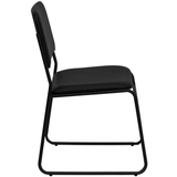 High Density Black Vinyl Stacking Chair with Sled Base, 1500 lb. Capacity