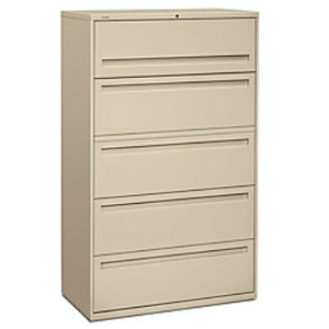 "HON Brigade 700 Series Lateral File, 5 Drawers, 67""H x 42""W x 19 1/4""D, Putty"
