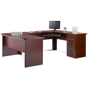 "Realspace Outlet Broadstreet Contoured U-Shaped Desk With 92""L Connecting Bridge/Shell, Cherry"