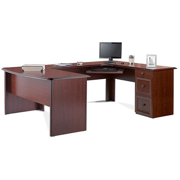 (Scratch & Dent) Realspace Outlet Broadstreet U-Shaped Executive Desk, Cherry