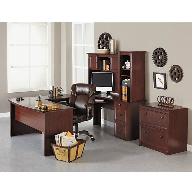 Warm Cherry Executive Desk Home Office Collection: (Scratch & Dent) Realspace Outlet Broadstreet U-Shaped
